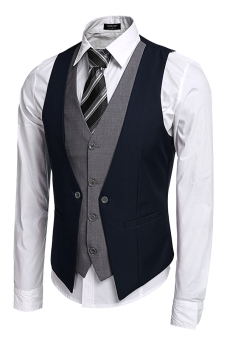 Cyber Coofandy Men's Formal Business Suit Vest ( Blue ) Price Philippines