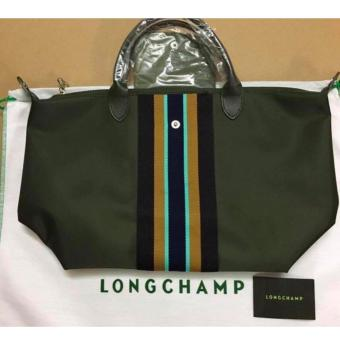 LIMITED EDITION Longchamp Medium Neo Tote Bag (MOSS GREEN STRIP) Price Philippines