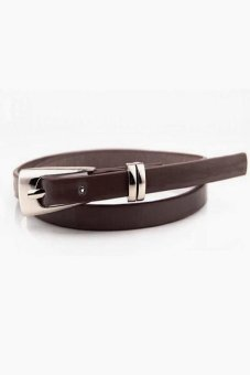 Harga New Hot Fashion Women Multicolor Waistband PU Leather Thin Skinny Buckle Belts Coffee