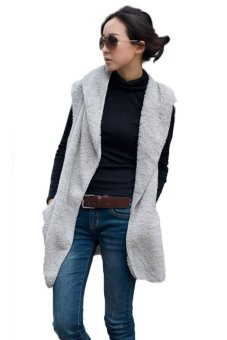 Harga Casual Fur Hooded Coat Vest with Belt for Spring Winter (Grey)