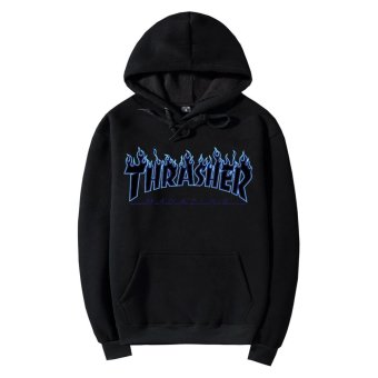 Harga Men's Printed Hoodie Flame Pure Cotton Thickening Blue Thrasher Hoodies THRASHER Flame Clothes Lovers Unlined Upper Garment - intl