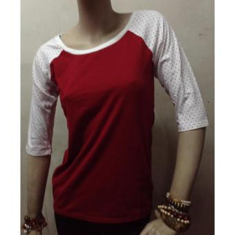Dewberry Celka Raglan Polka Tee / Rouge Red Price Philippines