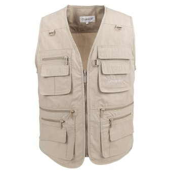 Valianto Men's Poplin Outdoors Travel Sports Pockets Vest US XL/Asia 4XL Khaki Price Philippines