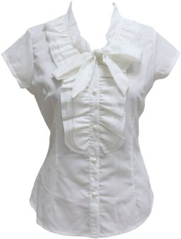 Ladies Short Sleeves Blouse with Ruffles and Ribbon (RD643) Price Philippines
