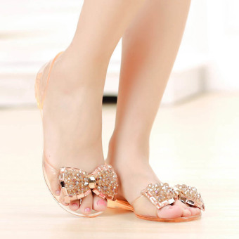 Harga Amart Woman Flat Sandals Summer Shoes Bow Sandals Crystal Jelly Shoes Sexy Open Toe Beach Shoes