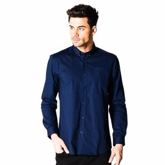Harga Memo Basic Stretch Solid Long Sleeve Shirt With Tonal Owl Embro (Navy Blue)