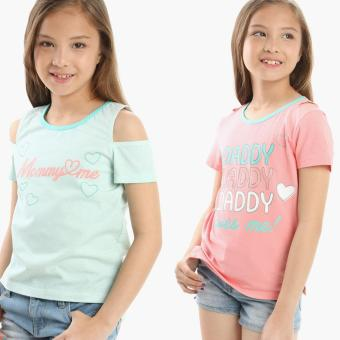 jusTees Girls 2-piece Mommy and Daddy Cold-shoulder Top Set (Size 10) Price Philippines