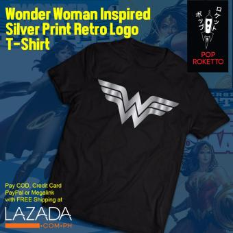 Pop Roketto Wonder Woman Silver Print Retro T-Shirt (Black) Price Philippines