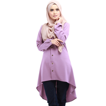 Fashion Women Muslim dress Muslim loose shirt dress (Purple) Price Philippines