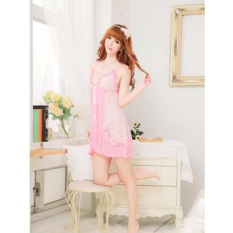 Harga Skadi Hot Girl K6045 Women Girlfriend Wife 2 Piece Sweet Romantic Sexy Lady Lingerie Baby Doll Dress See-through Lace Sleepwear Night Gown Wedding Birthday Gift With Panty Best Gift(Pink)FREE Mini Make Up Mirror