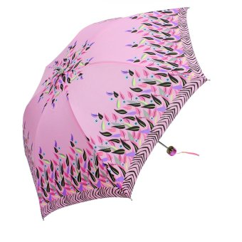 Harga London Fashion Multicolor Leaves Design Three Fold Compact Umbrella (Pink)