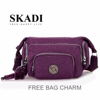 Harga Skadi JQE-1060 Korean Fashion Bag Nylon Waterproof Multi-pocket Mini Bag Crossbody Shoulder Sling Bag Best Gift With Free Bag Charm(Purple)