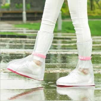 Harga Shoe Covers 1 Pair Portable Non-slip Thick PVC Rainboots Flat Shoes Clear - intl