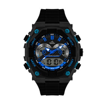 Harga UniSilver TIME Hexen Men's Black / Blue / Silver Analog-Digital Rubber Watch KW1567-1002