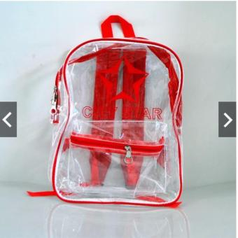 Harga City Star Transparent Vinyl Clear Backpack (Red)