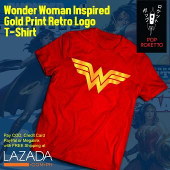 Pop Roketto Wonder Woman Gold Print Retro T-Shirt (Red) Price Philippines