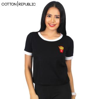 Cotton Republic POSH Crop/Sexy Top Patched Design - Fries (Black) Price Philippines