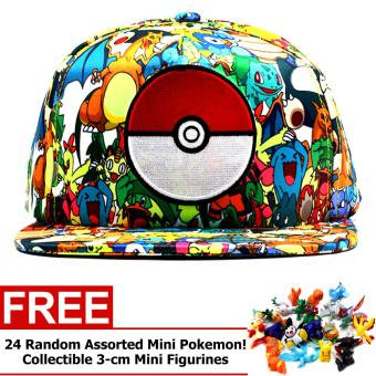 ANIME ZONE Pokemon Anime Pokemon Patterned Pokecap Snapback Unisex Cosplay Cap (Multicolor) with FREE 24 Random Assorted Pokemon Toys Price Philippines