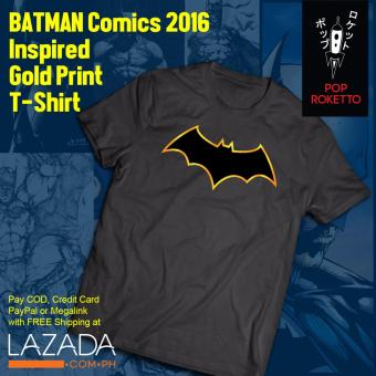 Pop Roketto Batman Gold Print Logo Male T-Shirt (Grey) Price Philippines