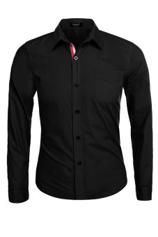 Harga Astar Coofandy Autum Winter Men Long Sleeve Lapel Career Business Men Shirt (Black)