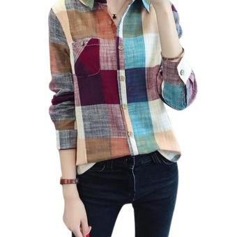 Harga Amart New Fashion Women Plaid Blouse Casual Long Sleeve Cotton Linen Slim Fit Tops (Red) - intl