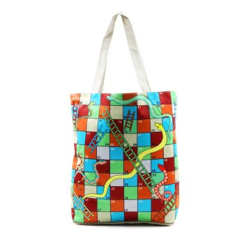 Harga London Fashion Snake and Ladders Tote Bag (White)