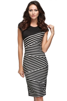 Toprank Cyber V- Neck Sleeveless Striped Formal Dresses (Black) - intl Price Philippines
