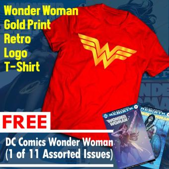 Harga Wonder Woman Gold Print Retro T Shirt with FREE Comics (1 of 11 Assorted Issues)
