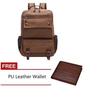 Harga Men's Multifunctional Canvas Backpack with Fashion PU Leather Wallet (Coffee) - INTL
