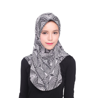 Agapeon Muslim Hijab Ice Silk Instant Tudung Black Pattern Price Philippines