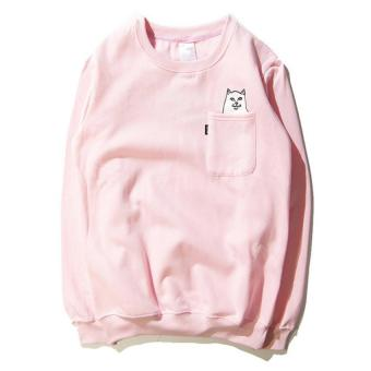 Harga 2017 New Men's Cat Pockets Sweatshirt hoodies hip hop sweatshirt harajuku hoodies M(pink) - intl