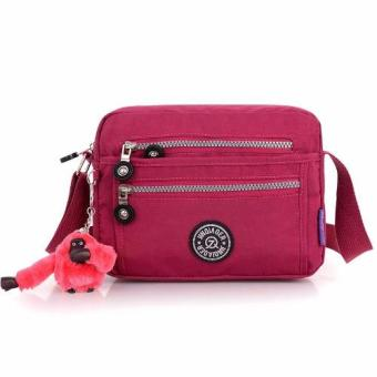 Harga Skadi JQE-6370 Women's Korean Fashion Bag Nylon Waterproof Multi-pocket Mini Bag Crossbody Shoulder Hand Bag Best Gift With Free Bag Charm(Royal Red)