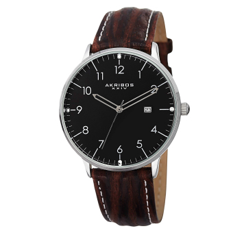 Harga Akribos XXIV Element Men's Brown/Dark Brown with White StitchingLeather Strap Watch AK715SSB