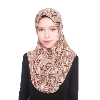 Agapeon Muslim Hijab Ice Silk Instant Tudung Brown Pattern Price Philippines