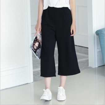 Harga JOY Lady Chiffon wide leg pants seven Black - intl