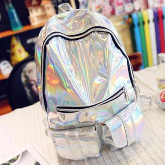 Harga Fashion Women Girls HOLOGRAPHIC Gammaray Hologram Backpack Harajuku Shoulder School Bag Tote laptop Travel Backpack - Silver - intl