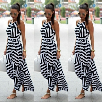 Fashion Women Sleeveless Striped Patchwork Maxi Long Dress w/ Belt Price Philippines