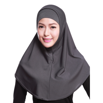 Agapeon Muslim Two piece Hijab Tudung Cotton&Linen Grey Price Philippines