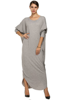 SuperCart ANGVNS Women Muslimah Wear Dresses Batwing Jersey Long - Intl Price Philippines
