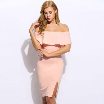 Jo.In Women Sleeveless Off Shoulder Ruffle Solid Slim Pencil Dress - intl Price Philippines