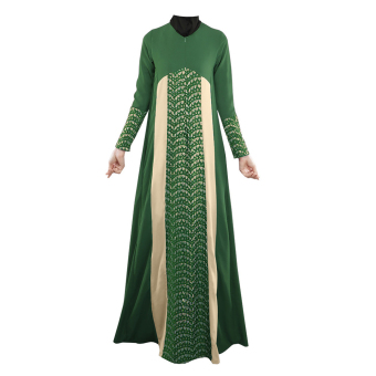 Muslim Women Lace Ethnic Long-sleeved Dress (Green) - intl Price Philippines