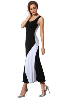 Cyber Angvns Ladies Women Sexy Sleeveless Patchwork Side Split Bodycon Stretch Party Banquet Maxi Long Dress ( Black ) Price Philippines