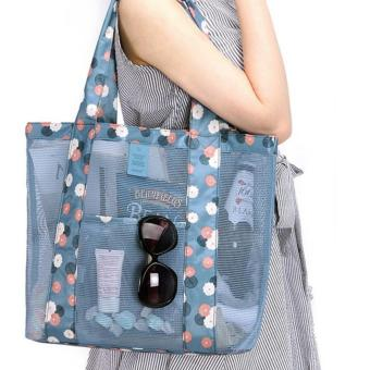 Mesh Beach Bag and Beach Tote Bag (Blue flower) Price Philippines
