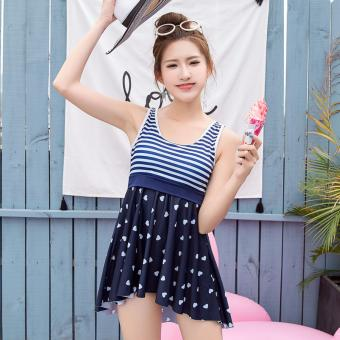 Harga Skadi Korean Style SW6913 Fun Beach 2 Pieces Cool Girl Women Beach Tankini Tops sleeves Short Sleeves Blouse Sport Skirt with Short Sexy Swimwear Hot Spring Swimsuit Set(Dark Blue Striped)