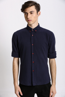 Harga Stitch Men's Oxford Button down Shirt (Navy)(Export)