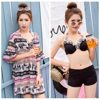 Harga Skadi Korean Style SW7827 Fun Beach 3 Pieces Cool Girl Women Beach Tankini Tops sleeves Short Sleeves Blouse Sport Skirt with Short Sexy Swimwear Hot Spring Swimsuit Set(Black Flower)