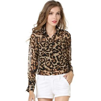 Spring women's loose-type shirt leopard print chiffon long-sleeved women's shirt chiffon shirt - intl Price Philippines