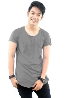BLKSHP Scoop Neck Long Tee with Curved Hem and Raw Edges (Charcoal) Price Philippines