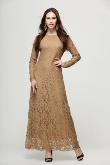 Muslim Elegant Women Lace Gown Dress(Khaki) Price Philippines