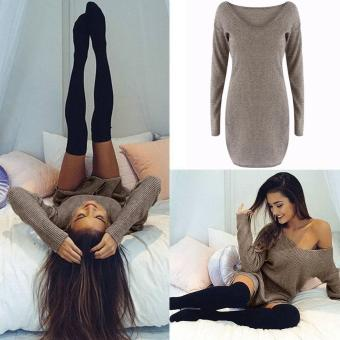 Jo.In Women Casual Slim V-Neck Long Sleeve Soid Knitted Pullover Sweater Mini Dress - intl Price Philippines
